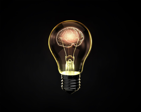 Light bulb with human brain inside on dark background