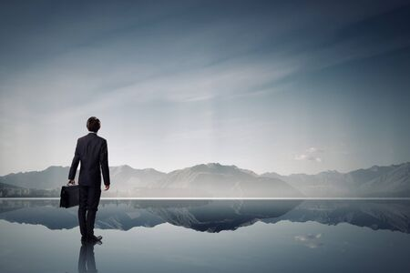 美しい自然風景を見ての実業家の背面図