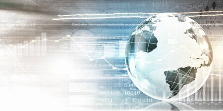 digital world: Conceptual image of modern business and technology with Earth planet Stock Photo