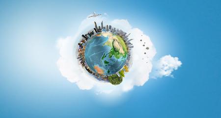planeta verde: Nuestro planeta Tierra y la vida moderna. Elementos de esta imagen son proporcionados por la NASA