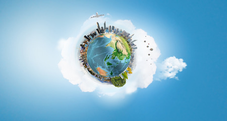green planet: Our Earth planet and modern life. Elements of this image are furnished by NASA Stock Photo