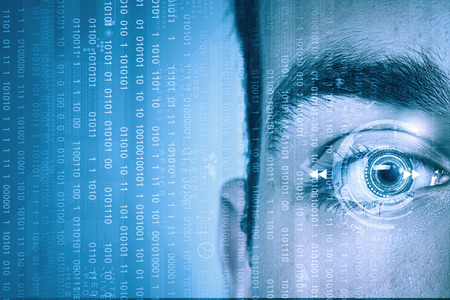 laser focus: Close up of male digital eye with security scanning concept Stock Photo