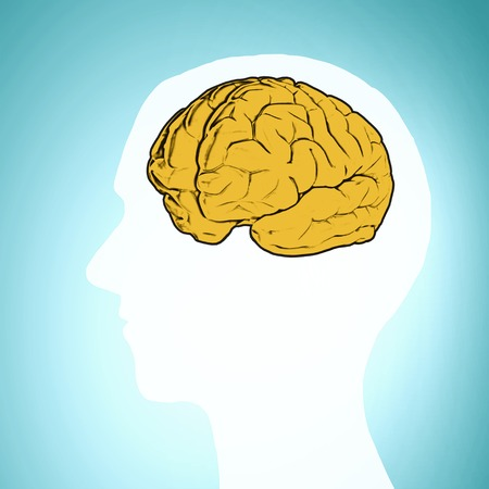 eureka: Silhouette of a mans head and brain illustration Stock Photo