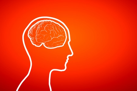 mature: Silhouette of a mans head and brain illustration Stock Photo