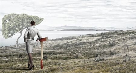deforestacion: Empresaria con el hacha que representa un problema de la deforestación Foto de archivo