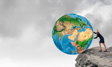 security gap: Young businesswoman pushing Earth planet. Elements of this image are furnished by NASA Stock Photo