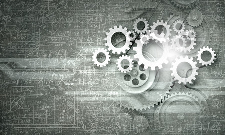 business gears: Cogwheels and gears mechanism on digital business background