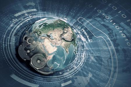 Conceptueel beeld met de planeet aarde gemaakt van tandwielen. Elementen van dit beeld worden geleverd door NASA