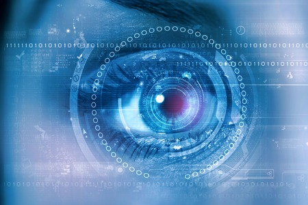 security: Close up of female digital eye with security scanning concept Stock Photo