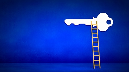 keys to heaven: Conceptual image with ladder to white key Stock Photo