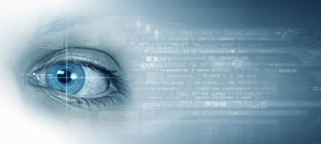 Binaire stroom concept achtergrond met vrouwelijke oog