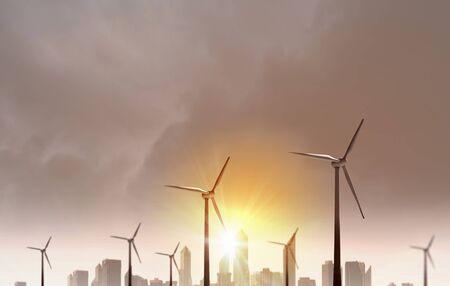 Some windmills standing in desert. Power and energy concept 版權商用圖片
