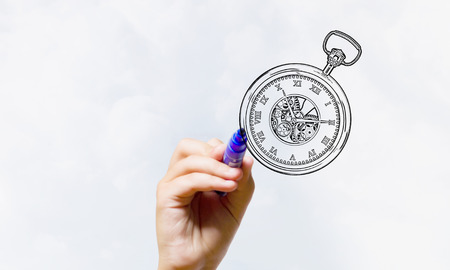 pocket watch: Close up of hand drawing pocket watch with marker