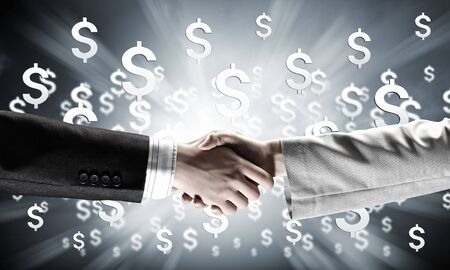 deal making: Close up of businessman hands making deal Stock Photo