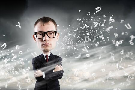 big head: Young funny man in glasses with big head Stock Photo