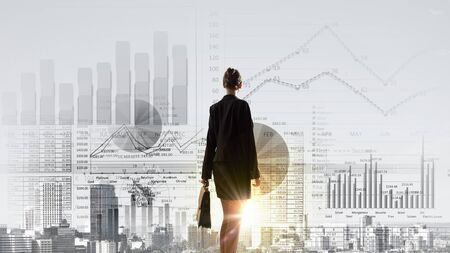 Rear view of businesswoman looking at business marketing strategy Stock Photo