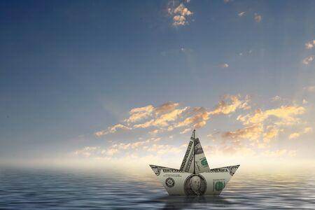 Papier schip drijvend op water op golven