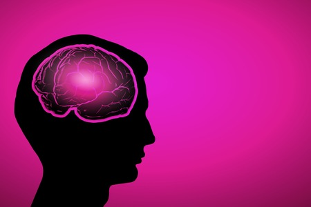 mature men: Silhouette of a mans head and brain illustration Stock Photo
