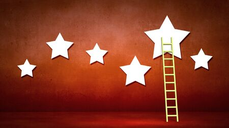 upward climb: Conceptual designed image with ladder to stars