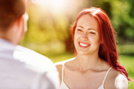 couple dating: Young couple in love having fun and enjoying the beautiful nature Stock Photo
