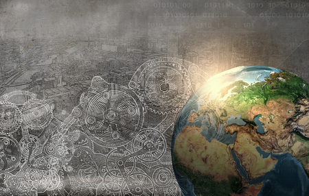Earth planet on technology background. Elements of this image are furnished by NASA Banco de Imagens
