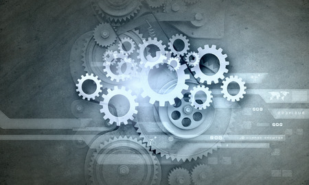 gears: Cogwheels and gears mechanism on digital business background