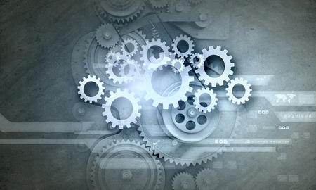 Cogwheels and gears mechanism on digital business background
