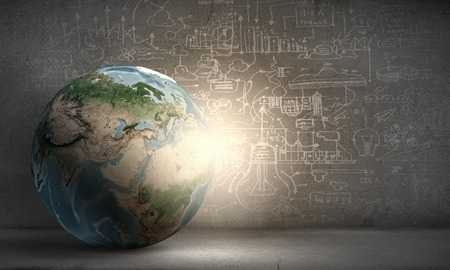 virtual world: Earth planet on technology background.