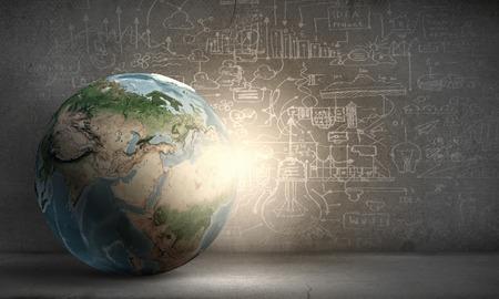 redes de mercadeo: El planeta Tierra en el fondo de la tecnología. Foto de archivo