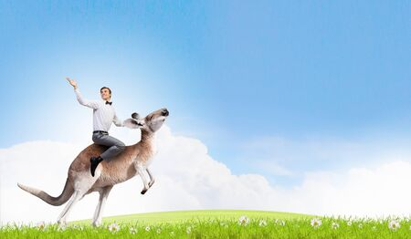 fearless: Young pretty fearless woman riding kangaroo animal