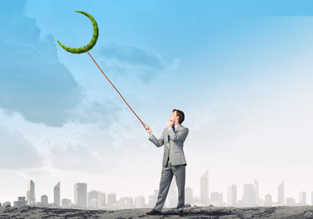 new idea: Young businessman caught new idea on lead