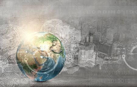 connected world: Earth planet on technology background. Elements of this image are furnished by NASA Stock Photo