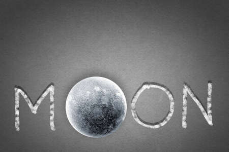 instead: Word moon with moon planet instead of one letter Stock Photo