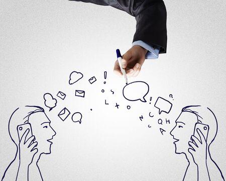 two men talking: Hand drawn sketch of two men talking mobile phones Stock Photo