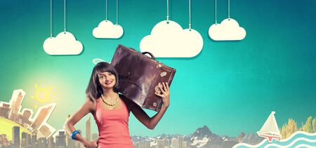 hitch hiker: Traveler woman walking with retro suitcase on shoulder Stock Photo