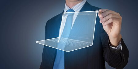 laptop screen: Close up of businessman drawing laptop on media screen Stock Photo