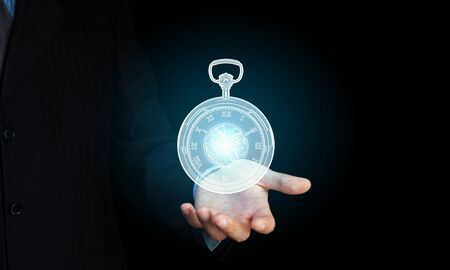 hand in pocket: Close up of businessman hand showing pocket watch symbol Stock Photo