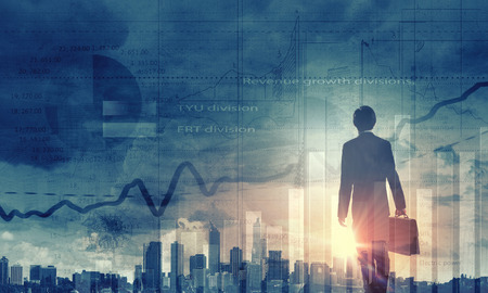career job: Back view of businessman and graphs at background Stock Photo