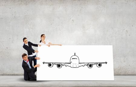 aircrew: Young people holding white banner with airplane illustration