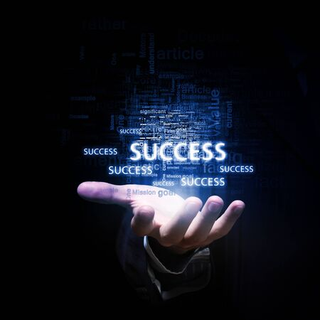Close up of businessman hand presenting business success concept Stock Photo