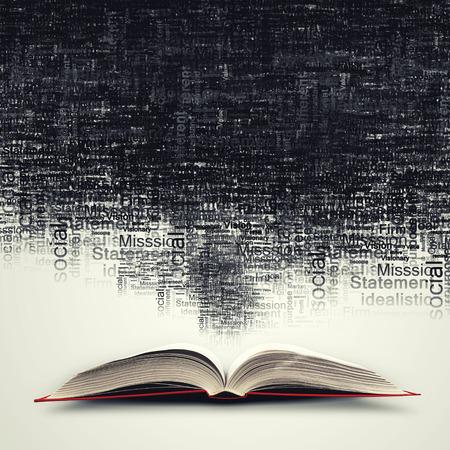conocimiento: Viejo abri� libro con personajes volando de p�ginas Foto de archivo