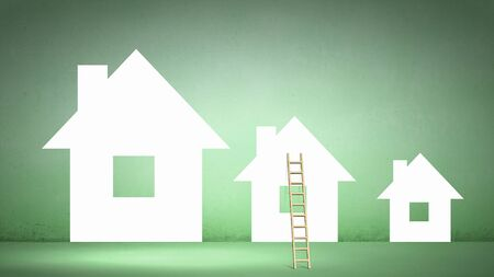 property ladder: Conceptual image of ladder leading to house icon