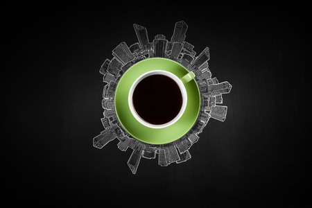 Top view of cup of coffee on black background Stock Photo