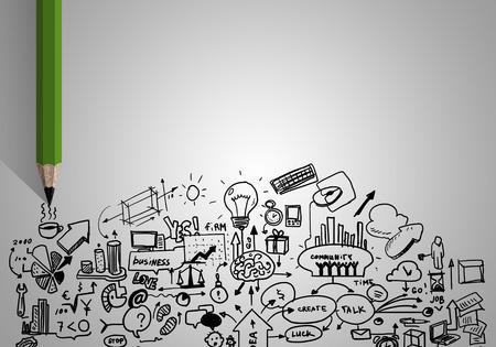 planificacion: La planificación concepto con el dibujo de lápiz bocetos estrategia de negocios
