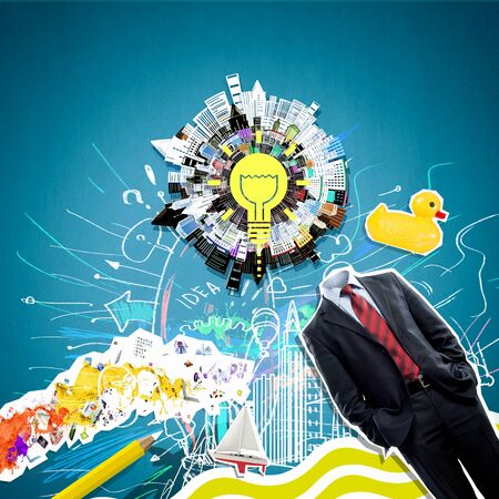 refreshment: Concept of refreshment with light bulb instead of businessman head