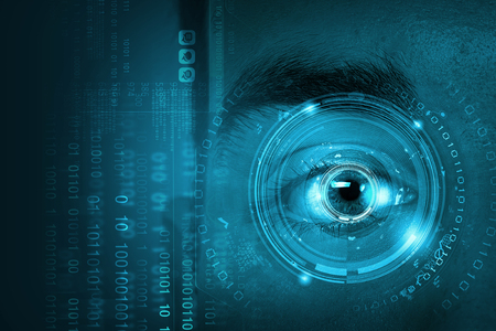 blue eye: Close up of male digital eye with security scanning concept Stock Photo