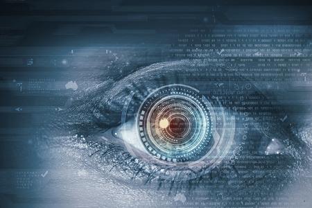 Close-up van de vrouw oog gescand op toegang Stockfoto