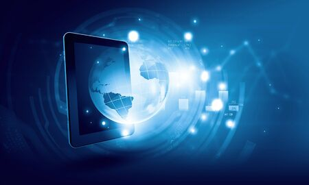 background designs: Global technologies concept with tablet pc and media icons Stock Photo