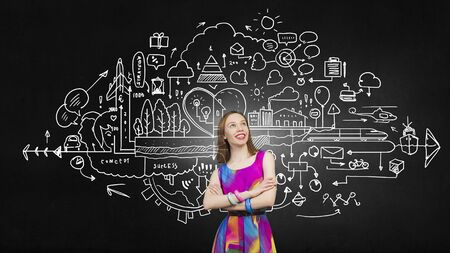 determinism: Woman in multicolored dress against sketch background Stock Photo