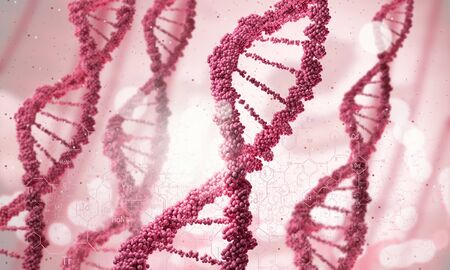 biochemistry: Biochemistry concept with digital red DNA molecule Stock Photo